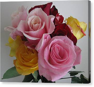 Canvas Print featuring the photograph Rose Bouquet by Margaret Newcomb
