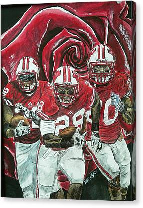 Canvas Print featuring the painting Rose Bowl Badgers by Dan Wagner