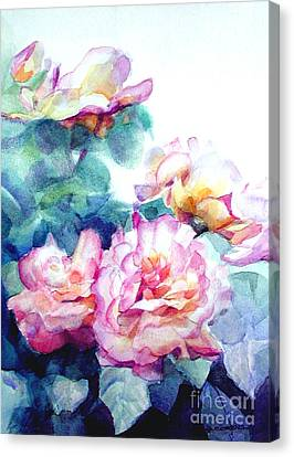 Canvas Print featuring the painting Pink Rose Bush by Greta Corens