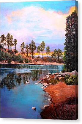 Rose Canyon Lake 2 Canvas Print by M Diane Bonaparte