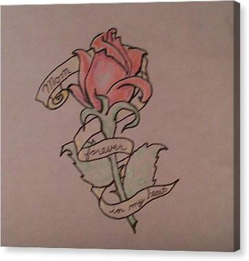 Canvas Print featuring the drawing Rose For Mom by Thomasina Durkay
