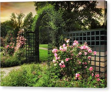Walkway Canvas Print - Rose Garden Gate by Jessica Jenney