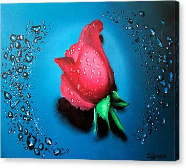 Canvas Print featuring the painting Rose by Geni Gorani