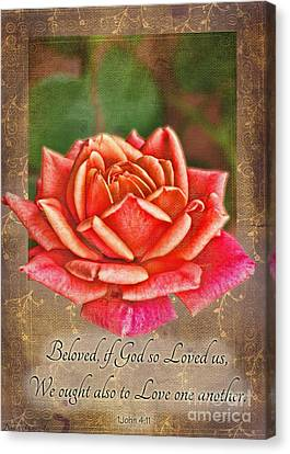 Rose Greeting Card With Verse Canvas Print by Debbie Portwood