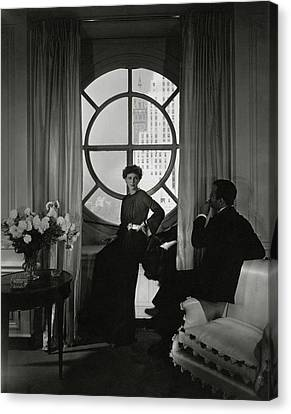 Curtains Canvas Print - Rose Hobart Standing By A Window by Edward Steichen