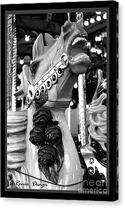 Rose Horse In Black And White Canvas Print