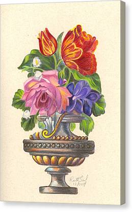 Rose In Antique Vase Canvas Print by Ruth Seal