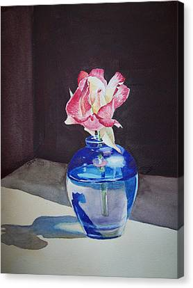 Rose In The Blue Vase II Canvas Print by Irina Sztukowski