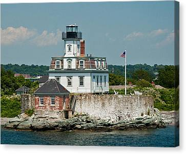 Rose Island Lighthouse Canvas Print by Nancy De Flon
