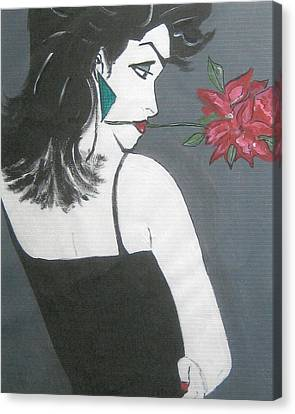 Canvas Print featuring the painting Rose Lady by Nora Shepley