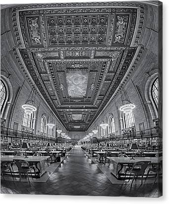 Rose Main Reading Room At The Nypl Bw Canvas Print by Susan Candelario