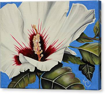 Rose Of Sharon Canvas Print by Karen Beasley