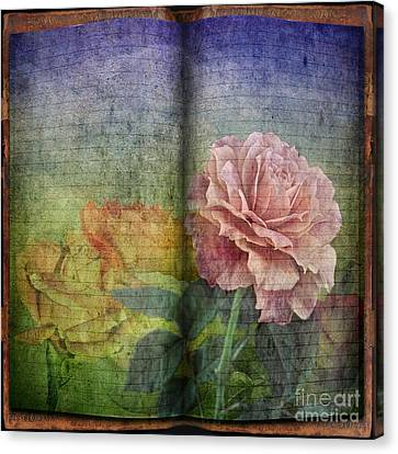 Canvas Print featuring the digital art Rose Poem by Shirley Mangini