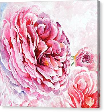 Canvas Print featuring the painting Rose Reflection 2 by Sandra Phryce-Jones