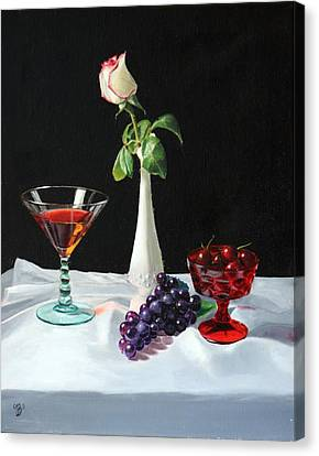 Canvas Print featuring the painting Rose Wine And Fruit by Glenn Beasley