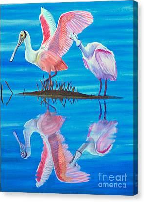 Roseate Spoonbill Pair Canvas Print by Jane Axman