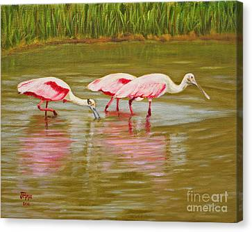 Canvas Print featuring the painting Roseatte Spoonbill Party by Jimmie Bartlett