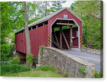 Rosehill Covered Bridge Canvas Print by Guy Whiteley