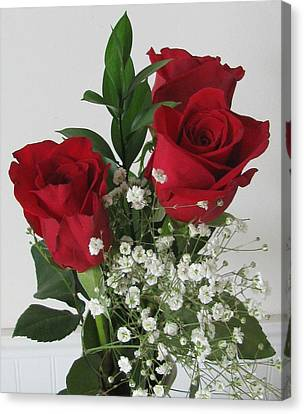 Canvas Print featuring the photograph Roses And Babys Breath by Margaret Newcomb