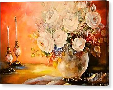 Roses And Candlelight Canvas Print by Patricia Schneider Mitchell