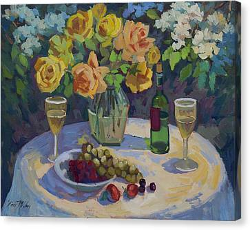 Wine-bottle Canvas Print - Roses And Chardonnay by Diane McClary
