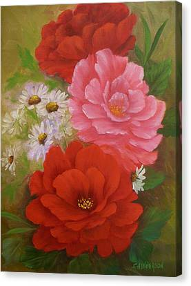 Roses And Daisies Canvas Print