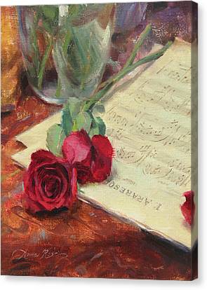Roses And Debussy Canvas Print by Anna Rose Bain