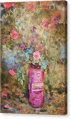 Roses And Fire Hydrant Canvas Print