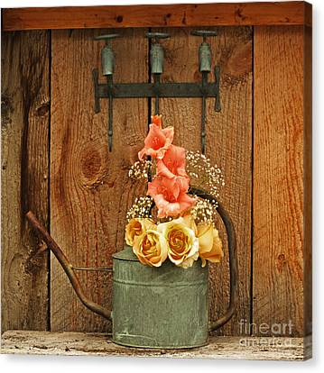 Canvas Print featuring the photograph Roses And Gladiolus  by Marjorie Imbeau