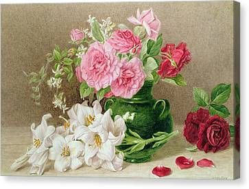 Roses And Lilies Canvas Print by Mary Elizabeth Duffield