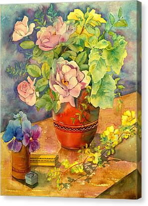 Roses And Pansies Canvas Print by Julia Rowntree