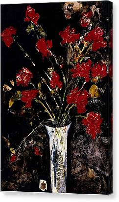 Canvas Print featuring the painting Roses And Remembrance by Elaine Elliott