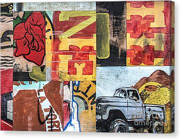Canvas Print featuring the mixed media Roses And Trucks by Terry Rowe