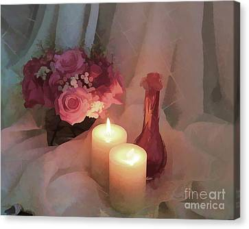 Roses By Candlight - Digital Paint Canvas Print by TN Fairey