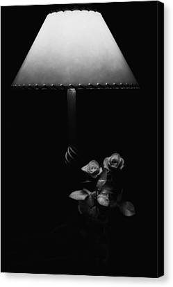 Canvas Print featuring the photograph Roses By Lamplight Bw by Ron White