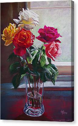 Roses By The Window Canvas Print by Lynda Robinson