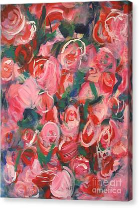 Canvas Print featuring the painting Roses by Fereshteh Stoecklein