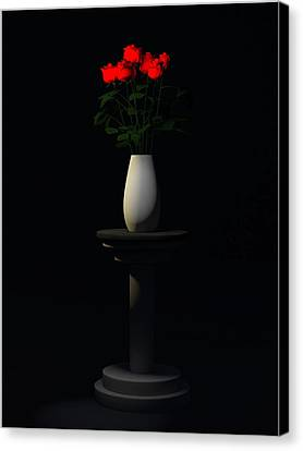 Canvas Print featuring the digital art Roses For Sk... by Tim Fillingim