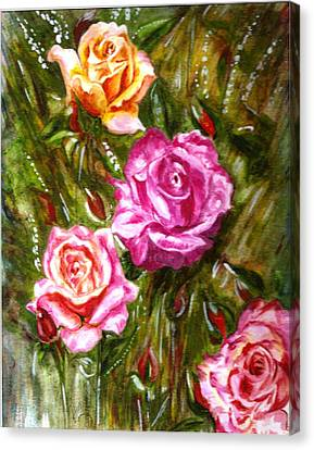 Canvas Print featuring the painting Roses by Harsh Malik