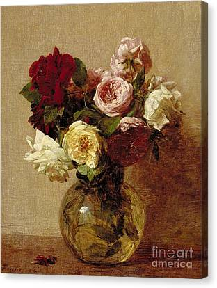 Flower Canvas Print - Roses by Ignace Henri Jean Fantin-Latour