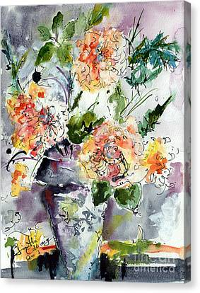 Roses Impressionists Heirloom Watercolor Still Life  Canvas Print