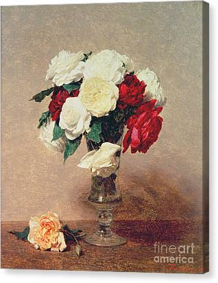 Roses In A Vase With Stem Canvas Print