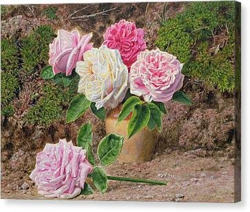 Roses In An Earthenware Vase By A Mossy Canvas Print by John Sherrin