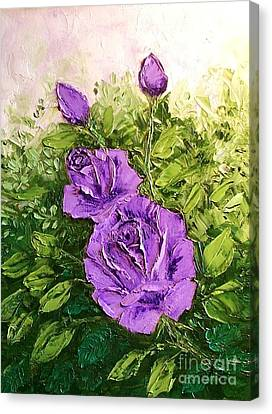 Roses In Lavender Canvas Print by Peggy Miller