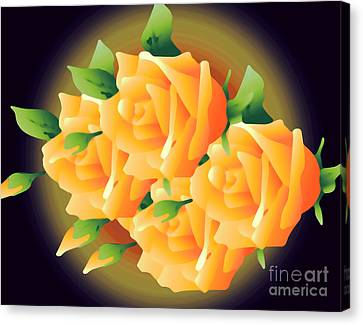 Roses In Sunset Canvas Print by Gayle Price Thomas