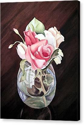 Roses In The Glass Vase Canvas Print by Irina Sztukowski