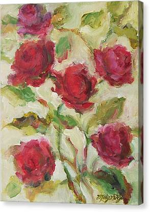 Canvas Print featuring the painting Roses by Mary Wolf