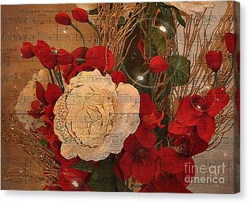Roses Music Bubbles And Love Canvas Print by Kathy Baccari