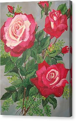 Roses N' Rain Canvas Print