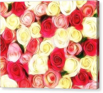 Roses Of Love Canvas Print by Georgiana Romanovna